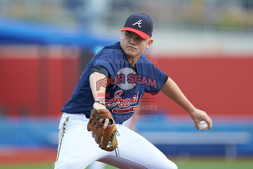 Cyle Phelean (12) of Fuquay Varina High School (NC) playing for the Atlanta Braves scout team during game four of the South Atlantic Border Battle at Truist Point on September 27, 2020 in High Pont, NC. (Brian Westerholt/Four Seam Images)