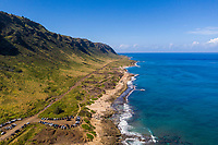 Aerial view of Ka'ena Point, Ka'ena Point State Park, North Shore of O'ahu.
