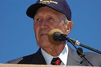 Former American League President, Dr Bobby Brown speaks about Jerry Coleman, the voice of the San Diego Padres, during Memorial Day ceremonies at the Mount Soledad Veterans Memorial, La Jolla, CA, USA Monday May 26 2008.  Coleman, who is a highly decorated WWII and Korean War pilot was honored with a special plaque during the ceremonies.