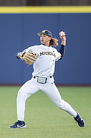 Michigan Wolverines outfielder Jordan Brewer (22) makes a throw against the San Jose State Spartans on March 27, 2019 in Game 2 of the NCAA baseball doubleheader at Ray Fisher Stadium in Ann Arbor, Michigan. Michigan defeated San Jose State 3-0. (Andrew Woolley/Four Seam Images)