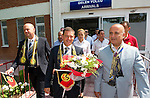 St Johnstone v Eskisehirspor....18.07.12  Uefa Cup Qualifyer.Chairman Steve Brown is greeted with flowers and scarves at Eskisehir airport from Eskisehirspor Vice-President Mulla Sahbaz (right), pictured left is St J associate director Charlie Fraser.Picture by Graeme Hart..Copyright Perthshire Picture Agency.Tel: 01738 623350  Mobile: 07990 594431