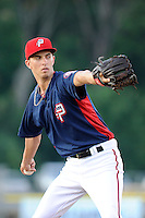 Starting pitcher A.J. Cole (18) of the Potomac Nationals in a game against the Myrtle Beach Pelicans on Monday, June 24, 2013, at G. Richard Pfitzner Stadium in Woodbridge, Virginia. Myrtle Beach won, 3-2. (Tom Priddy/Four Seam Images)