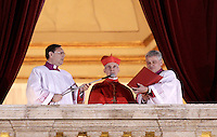 Il Cardinale Protodiacono Jean-Louis Tauran, francese, annuncia l'elezione di Papa Francesco dalla Loggia centrale della Basilica di San Pietro, Citta' del Vaticano, 13 marzo 2013. 115 cardinali, dopo due giorni di Conclave e cinque turni di votazione hanno eletto come nuovo Papa della Chiesa Cattolica Romana il Cardinale argentino Jorge Mario Bergoglio, che prendera' il  nome di Papa Francesco..Cardinal Protodeacon Jean-Louis Tauran, of France, aannounces the election of the new Pope of the Roman Catholic Church, from the central balcony of St. Peter's Basilica at the Vatican, 13 March 2013. 115 cardinals, after two days and five rounds of vote the Conclave have elected the new Pontiff the Argentine cardinal Jorge Mario Bergoglio, who chose the name of Pope Francis..UPDATE IMAGES PRESS/Riccardo De Luca.STRICTLY ONLY FOR EDITORIAL USE -STRICTLY FOR EDITORIAL USE ONLY-