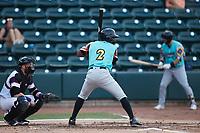 Jose Acosta (2) of the Llamas de Hickory at bat against the Winston-Salem Rayados at Truist Stadium on July 6, 2021 in Winston-Salem, North Carolina. (Brian Westerholt/Four Seam Images)
