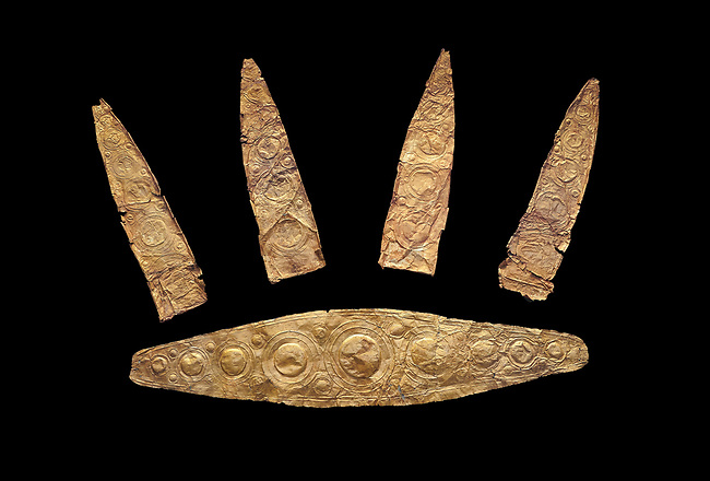 Gold Mycenaean diadem with leaf shaped plates from Grave I, Grave Circle A, Myenae, Greece. National Archaeological Museum Athens. Cat No 184, 185. 16th century BC. Black Background