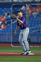 First baseman James Pedas (7) of Landon High School in McLean, VA waits for a throw during the Atlantic Coast Prospect Showcase hosted by Perfect Game at Truist Point on August 22, 2020 in High Point, NC. (Brian Westerholt/Four Seam Images)