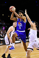 Dion Prewster of the Wellington Saints passes the ball during the round one NBL match between the Wellington Saints and the Canterbury Rams at TSB Bank Arena, Wellington, New Zealand on Friday 30 April 2021.<br /> Photo by Masanori Udagawa. <br /> www.photowellington.photoshelter.com