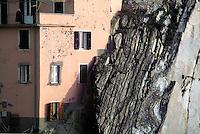 - detail of a house in the cliff in the  Manarola village (Cinque Terre)....- particolare di una casa nella roccia nel paese di Manarola (Cinque Terre)