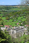 Great Britain, England, North Yorkshire, Rievaulx near Helmsley: View over ruined 12th century Cistercian Abbey from Rievaulx Terrace