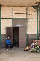 Senegal, Saint Louis.  Caretaker at the Abandoned Railroad Depot, no longer in use.