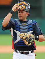 17 March 2009: Catcher J.C. Boscan of the Atlanta Braves in a game against the New York Mets at the Braves' Spring Training camp at Disney's Wide World of Sports in Lake Buena Vista, Fla. Photo by:  Tom Priddy/Four Seam Images