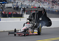 Sept. 17, 2011; Concord, NC, USA: NHRA top fuel dragster driver David Grubnic during qualifying for the O'Reilly Auto Parts Nationals at zMax Dragway. Mandatory Credit: Mark J. Rebilas-