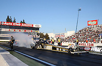 Feb. 17, 2013; Pomona, CA, USA; NHRA top fuel dragster driver Tony Schumacher during the Winternationals at Auto Club Raceway at Pomona. Mandatory Credit: Mark J. Rebilas-