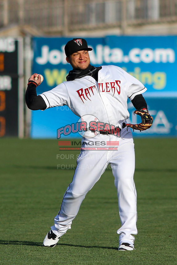 Wisconsin Timber Rattlers shortstop Isan Diaz (6) warms up prior to a Midwest League game against the Great Lakes Loons on April 26th, 2016 at Fox Cities Stadium in Appleton, Wisconsin.  Wisconsin defeated Great Lakes 4-3. (Brad Krause/Four Seam Images)