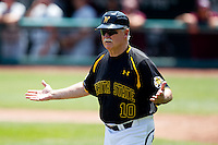 Head Coach Gene Stephenson (10) of the Wichita State Shockers walks over to the third base line to have a call explained during a game against the Missouri State Bears in the 2012 Missouri Valley Conference Championship Tournament at Hammons Field on May 23, 2012 in Springfield, Missouri. (David Welker/Four Seam Images)