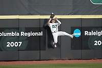 Charlotte 49ers left fielder Dominic Pilolli (22) makes a catch against the outfield wall during the game against the Old Dominion Monarchs at Hayes Stadium on April 23, 2021 in Charlotte, North Carolina. (Brian Westerholt/Four Seam Images)