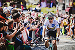 White Jersey Wout Van Awert (BEL) Team Jumbo-Visma arrives at sign on before Stage 3 of the 2019 Tour de France running 215km from Binche, Belgium to Epernay, France. 8th July 2019.<br /> Picture: ASO/Pauline Ballet | Cyclefile<br /> All photos usage must carry mandatory copyright credit (© Cyclefile | ASO/Pauline Ballet)