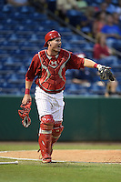 Clearwater Threshers catcher Andrew Knapp (5) directs a play during a game against the Tampa Yankees on April 21, 2015 at Bright House Field in Clearwater, Florida.  Clearwater defeated Tampa 3-0.  (Mike Janes/Four Seam Images)