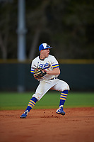 South Dakota State Jackrabbits shortstop Gus Steiger (3) throws to first base during a game against the Northeastern Huskies on February 23, 2019 at North Charlotte Regional Park in Port Charlotte, Florida.  Northeastern defeated South Dakota State 12-9.  (Mike Janes/Four Seam Images)
