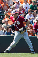 Oklahoma Sooners third baseman Garrett Carey #10 makes a throw to second base against the Texas Longhorns in the NCAA baseball game on April 6, 2013 at UFCU DischFalk Field in Austin, Texas. The Longhorns defeated the rival Sooners 1-0. (Andrew Woolley/Four Seam Images).