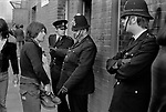 Manchester City football fan prevented from entering Queens Park Rangers QPR football ground wearing metal toed boots. 1972.
