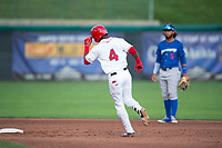 Orem Owlz center fielder D'Shawn Knowles (4) rounds second base in front of Ronny Brito (5) after hitting a home run during a Pioneer League game against the Ogden Raptors at Home of the OWLZ on August 24, 2018 in Orem, Utah. The Ogden Raptors defeated the Orem Owlz by a score of 13-5. (Zachary Lucy/Four Seam Images)