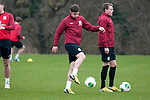Cardiff - UK - 19th March 2013 : Ben Davies of Swansea City training with the Wales football squad at the Vale Hotel and Resort pitch ahead of their international with Scotland at the weekend.