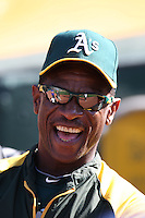 OAKLAND, CA - JUNE 19:  Coach Rickey Henderson of the Oakland Athletics watches batting practice before the game against the Los Angeles Dodgers at O.co Coliseum on Tuesday June 19, 2012 in Oakland, California. Photo by Brad Mangin