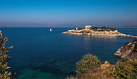 Fine Art Photograph Landscape scenic photograph of the blue bay and ocean seaport in Kusadasi Turkey.