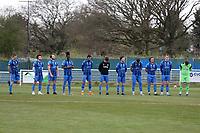 Redbridge players osberve a one minute silence in memory of The Duke of Edinburgh during Redbridge vs Clapton, Len Cordell Memorial Cup Football at Oakside Stadium on 10th April 2021