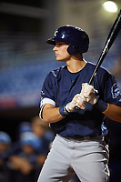 Charlotte Stone Crabs designated hitter Josh Lowe (28) on deck during the second game of a doubleheader against the St. Lucie Mets on April 24, 2018 at First Data Field in Port St. Lucie, Florida.  St. Lucie defeated Charlotte 6-5.  (Mike Janes/Four Seam Images)