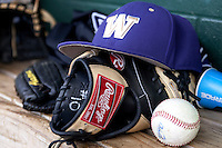 Washington Huskies hat before during the NCAA baseball game against the Michigan Wolverines on February 16, 2014 at Bobcat Ballpark in San Marcos, Texas. The game went eight innings, before travel curfew ended the contest in a 7-7 tie. (Andrew Woolley/Four Seam Images)