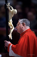 Cardinal Giuseppe Bertello,Pope Francis the ceremony of the Good Friday Passion of the Lord Mass in Saint Peter's Basilica at the Vatican.March 30, 2018
