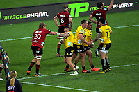 The Hurricanes celebrate Asafo Aumua's try during the Super Rugby Aotearoa match between the Hurricanes and Crusaders at Sky Stadium in Wellington, New Zealand on Saturday, 21 June 2020. Photo: Dave Lintott / lintottphoto.co.nz