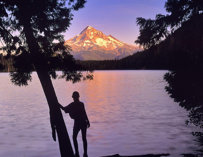 Young girl, Lost Lake, and Mount Hood, Oregon.
