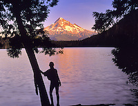 Young girl, Lost Lake, and Mount Hood, Oregon.