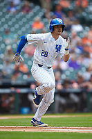 Ryan Johnson (28) of the Kentucky Wildcats hustles down the first base line against the Sam Houston State Bearkats during game four of the 2018 Shriners Hospitals for Children College Classic at Minute Maid Park on March 3, 2018 in Houston, Texas. The Wildcats defeated the Bearkats 7-2.  (Brian Westerholt/Four Seam Images)