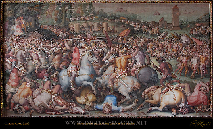 Defeat of the Pisans at the Torre di San Vicenzo in 1505 Vasari Salone dei Cinquecento (Hall of 500) Palazzo Vecchio Florence