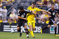 26 JUNE 2010:  Jaime Moreno #99 of DC United  and Jason Garey of the Columbus Crew (9) during MLS soccer game between DC United vs Columbus Crew at Crew Stadium in Columbus, Ohio on May 29, 2010. The Crew defeated DC United 2-0.