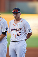 Bowling Green Hot Rods pitcher Andrew Gist (16) during introductions before a game against the Peoria Chiefs on September 15, 2018 at Bowling Green Ballpark in Bowling Green, Kentucky.  Bowling Green defeated Peoria 6-1.  (Mike Janes/Four Seam Images)
