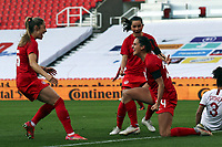 13th April 2021; Bet365 Stadium, Stoke, England; Evelyne Viens of Canada celebrating her goal against England during the womens International Friendly match between England and Canada