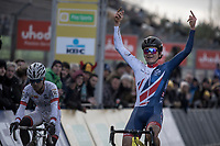 U23 race winner Thomas Pidcock (GBR/Telenet Fidea Lions) crossing the finish line with middlefingers stretched...<br /> <br /> U23 Men's Race<br /> UCI CX World Cup Zolder / Belgium 2017