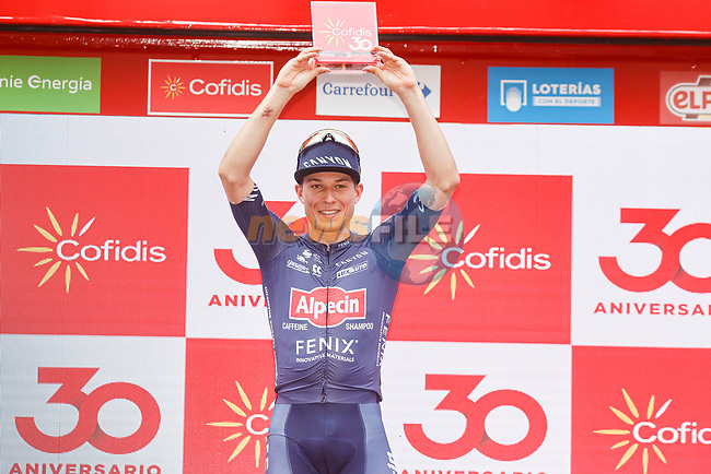Jasper Philipsen (BEL) Alpecin-Fenix wins Stage 5 of La Vuelta d'Espana 2021, running 184.4km from Tarancón to Albacete, Spain. 18th August 2021.    <br /> Picture: Luis Angel Gomez/Photogomezsport | Cyclefile<br /> <br /> All photos usage must carry mandatory copyright credit (© Cyclefile | Luis Angel Gomez/Photogomezsport)