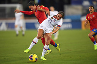 JACKSONVILLE, FL - NOVEMBER 10: Lynn Williams #27 of the United States and Carol Sanchez #6 of Costa Rica battle for a loose ball during a game between Costa Rica and USWNT at TIAA Bank Field on November 10, 2019 in Jacksonville, Florida.