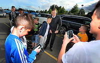 Pictured: Manager Garry Monk poses with youngsters as he arrives Wednesday 20 May 2015<br /> Re: Swansea City FC Awards Dinner at the Liberty Stadium, south Wales, UK