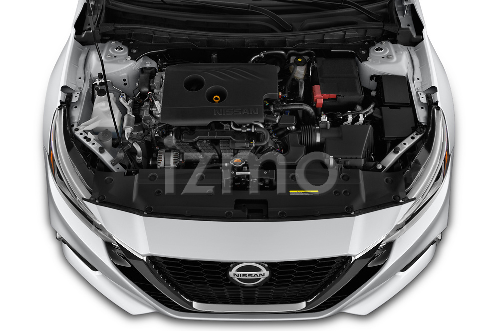 Car Stock 2020 Nissan Altima SV 4 Door Sedan Engine  high angle detail view