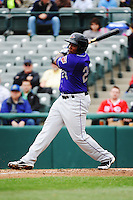 Akron Aeros outfielder Carlos Moncrief (24) during game against the Trenton Thunder at ARM & HAMMER Park on April 17, 2013 in Trenton, New Jersey.  Akron defeated Trenton 10-6.  Tomasso DeRosa/Four Seam Images