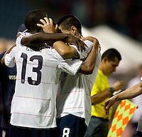 Ricardo Clark celebrates his winning goal with teammates, USA 1-0 over Trinidad at Hasely Crawford Stadium, Port of Spain, Trinidad, Wednesday, Sept. 9, 2009. ..   .