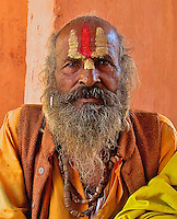 Sadhu at the Rameshwar Village and Hindu Temple 15 km from Varanasi, India