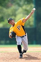 GCL Pirates starting pitcher Orlando Castro #45 delivers a pitch during a game against the GCL Braves at Disney Wide World of Sports on June 25, 2011 in Kissimmee, Florida.  The Pirates defeated the Braves 5-4 in ten innings.  (Mike Janes/Four Seam Images)